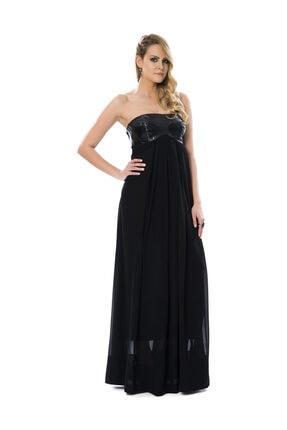 PİNKO Deri Detaylı, Göğüs Altından Açılan Siyah Uzun Abiye Elbise