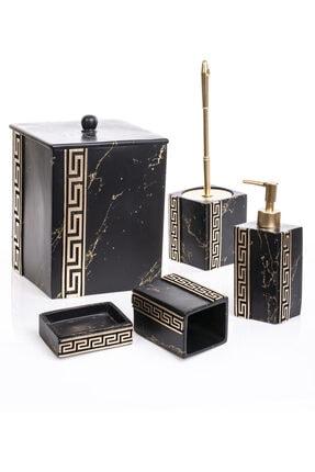 MUKKO HOME Versace Siyah 5 Parça Lüks Banyo Seti