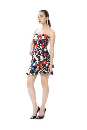 PİNKO Çok Renkli Eteği Volanlı Kısa Elbise