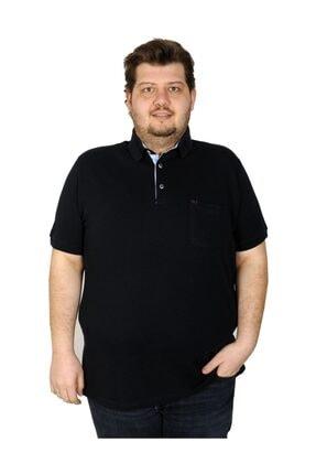 ModeXL Tshirt Polo Yaka Cepli Klasik Pike 20552 Lacivert