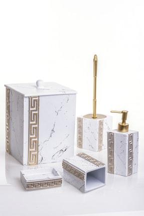 MUKKO HOME Versace Beyaz 5 Parça Lüks Banyo Seti