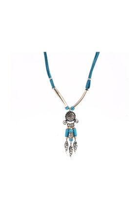Bosphorus İşlemeli Kadın Kolye Gümüş Ve Mavi Tonlarda