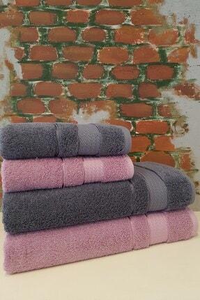 Özdilek Trendy 4 Parça Banyo Havlu Seti - Koyu Gri Açık Lila