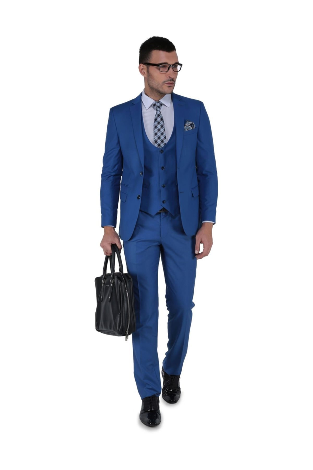 Buenza Erkek Akf Mono Yelekli Dar Kalıp Takım Elbise 1
