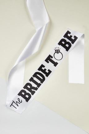 Oleg Cassini Kadın Beyaz/Siyah The Bride to Be Kuşağı BRIDESASH-2