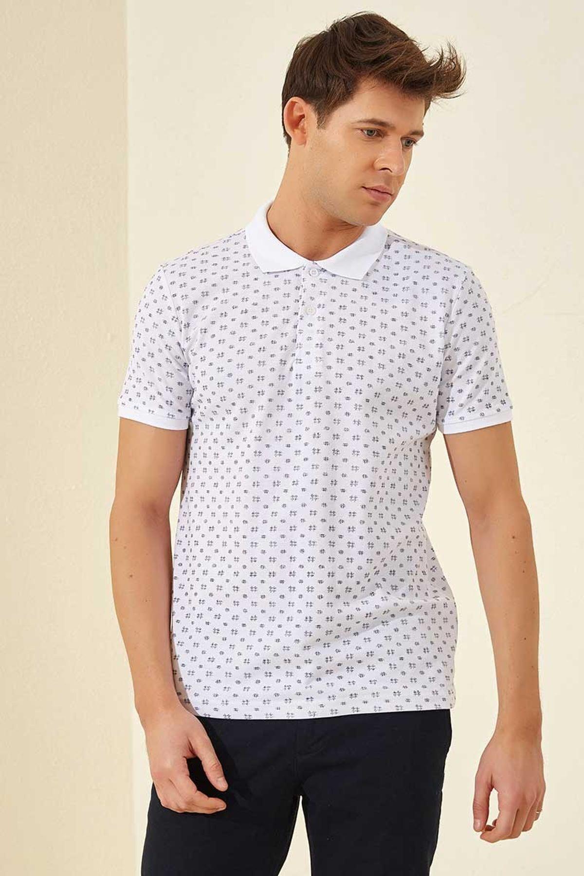 Tommy Life Klasik Desenli Polo Yaka Beyaz-Lacivert Erkek Tshirt T08ER-87795_1 1