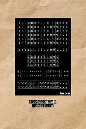 Funbou Siyah Harf-rakam Sticker Seti / 2 Sayfa