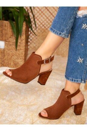 ayakkabıhavuzu Kadın Taba Süet Topuklu Ayakkabı