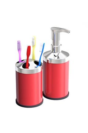Alper Banyo Kırmızı Tezgah Üstü 250 Cc Sıvı Sabunluk - Diş Fırçalık Seti ( Metal )