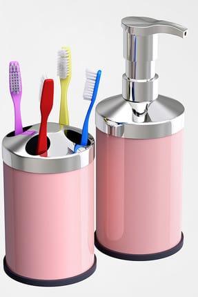 Alper Banyo Pembe Tezgah Üstü 250 Cc Sıvı Sabunluk - Diş Fırçalık Seti ( Metal )