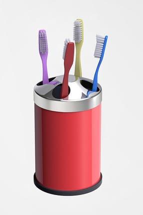Alper Banyo Kırmızı Tezgah Üstü Diş Fırçalık ( Metal )