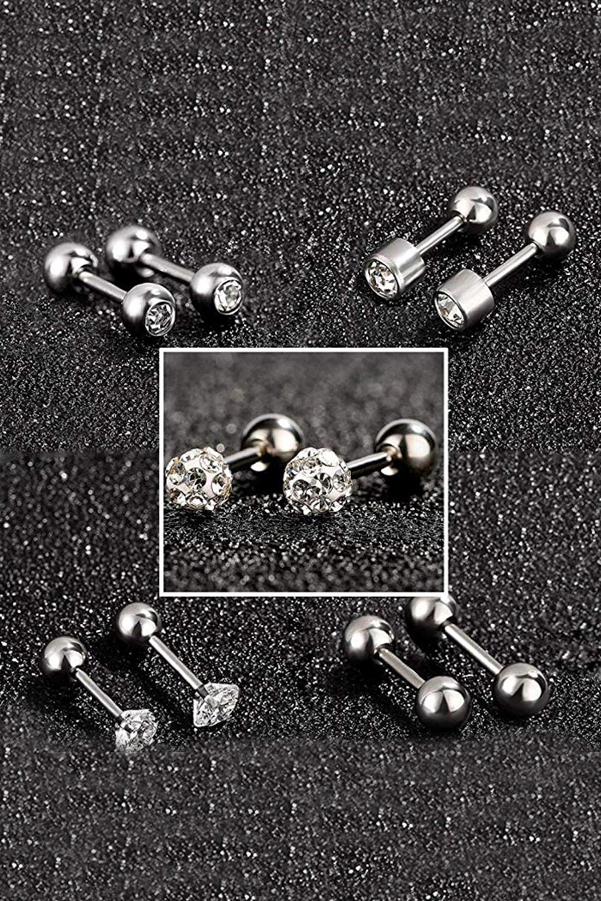 Chavin Gri Çelik 5 Takım Taşlı Küpe Piercing Eb61by 2