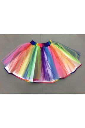 Gökkuşağı Kız Çocuk Renkli Tütü Etek