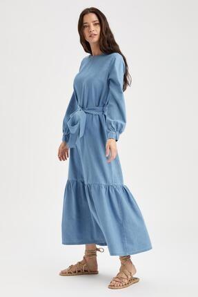 DeFacto Relax Fit Volanlı Uzun Jean Elbise