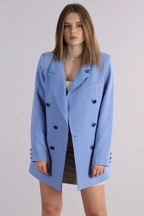 Madmext Kadın Mavi Kruvaze Blazer Ceket Mg1085