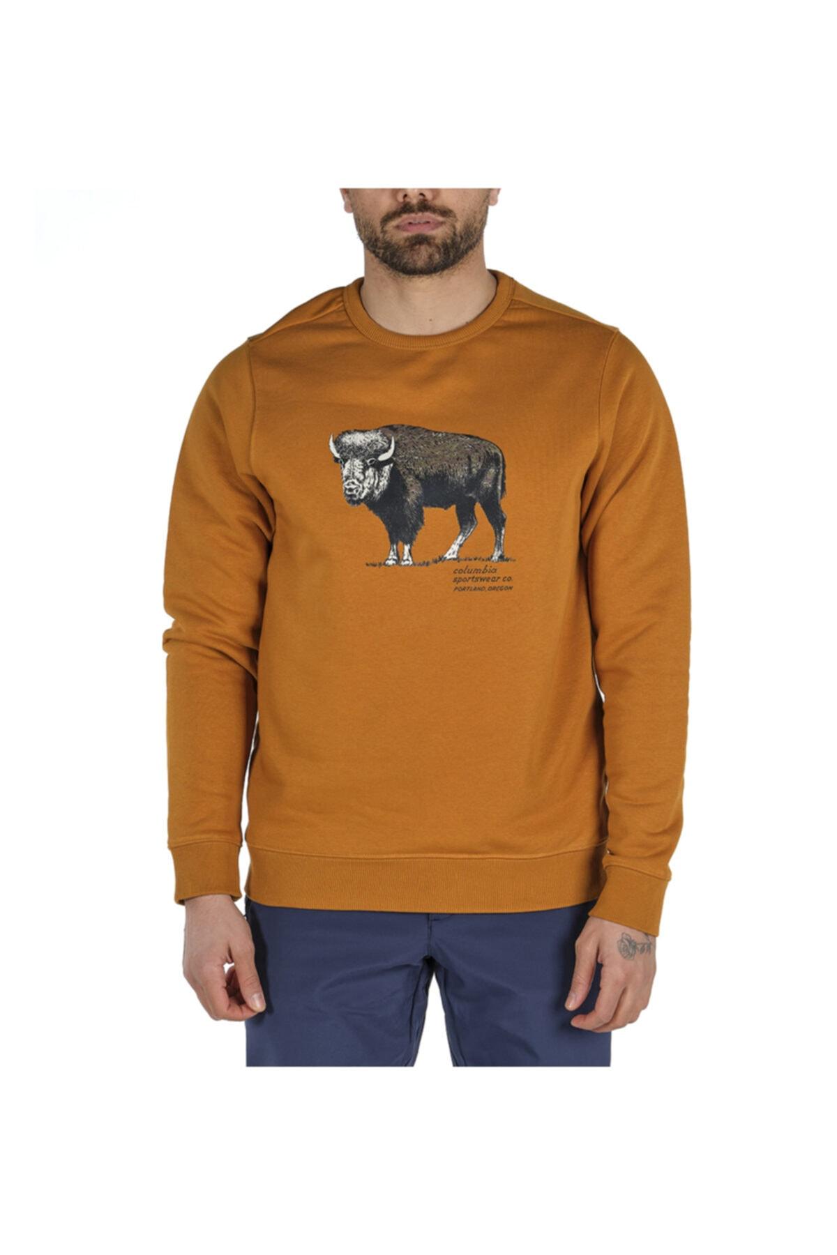 Columbia Erkek Sarı Check The Buffalo Bugasweat Crew Iı Sweatshirt 1