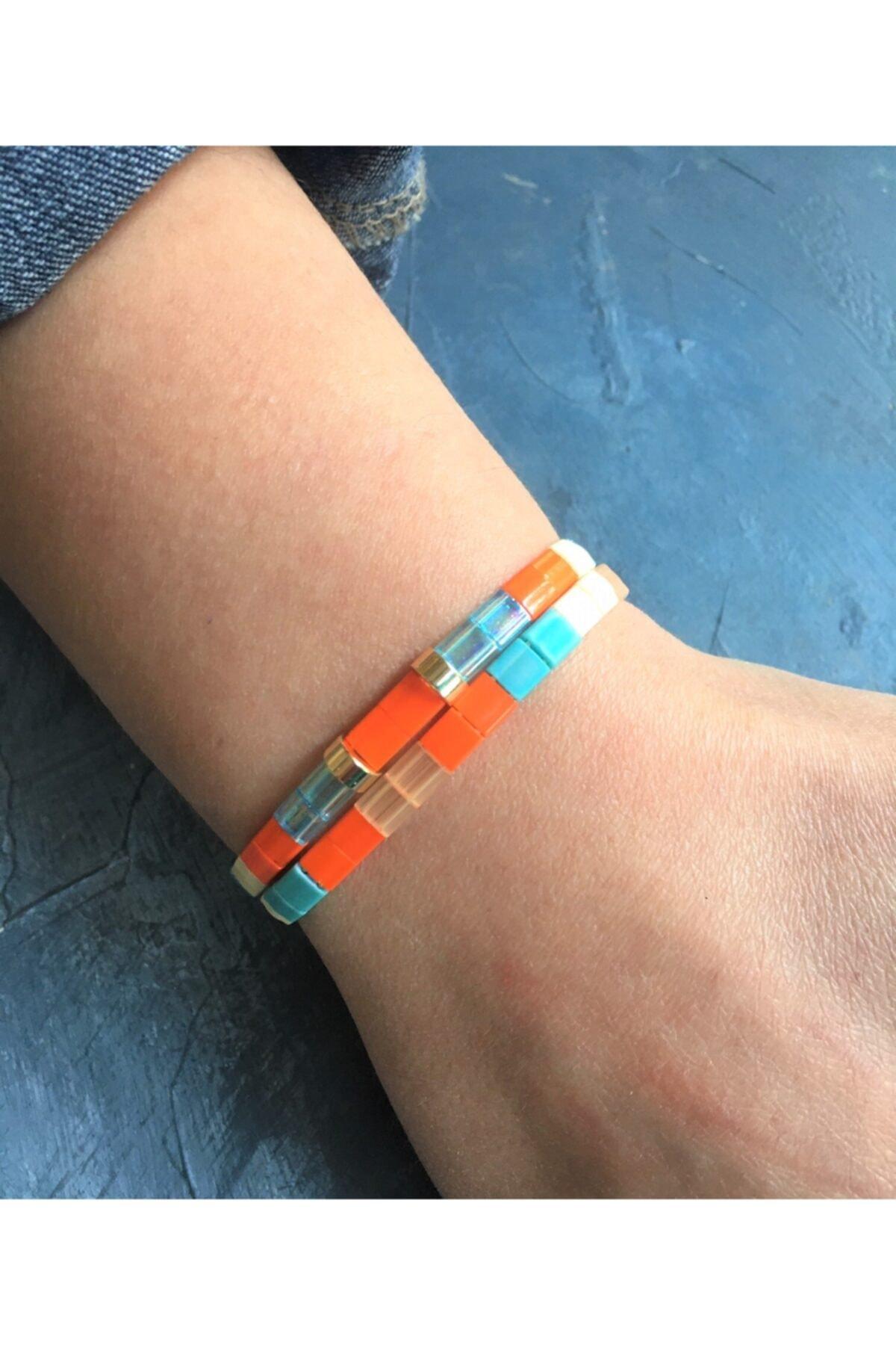 floom jewelry Turuncu Mavi Tila Bileklik Kombin 2