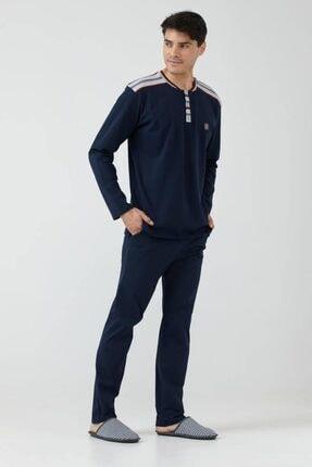 Sementa Erkek Lacivert Yarım Düğmeli Çizgili Pijama Takımı