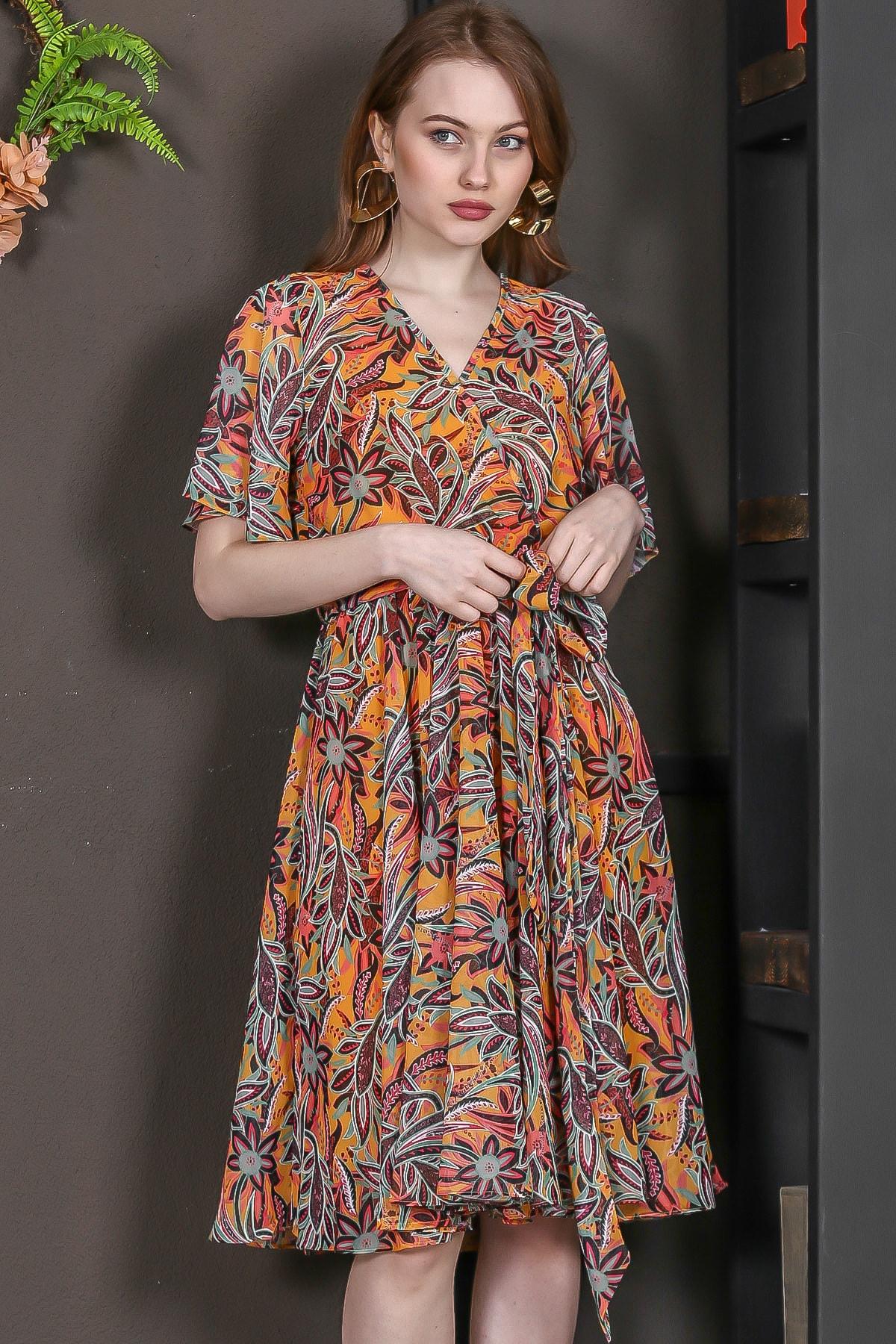 Chiccy Kadın Turuncu Kruvaze Yaprak Desenli Kuşaklı Astarlı Şifon Elbise M10160000EL95166