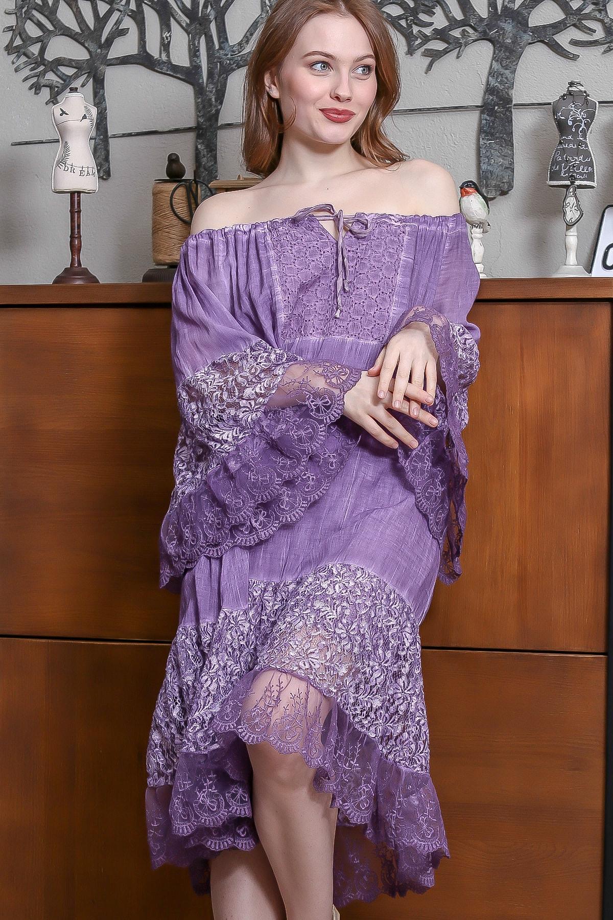 Chiccy Kadın Mor Carmen Yaka İspanyol Kol Dantel Detaylı Astarlı Salaş Midi Elbise M10160000EL95240