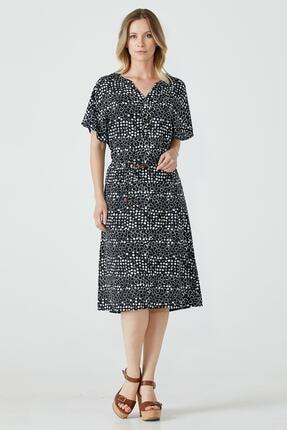 Sementa Yarım Düğmeli Kemerli Kadın Elbise - Siyah