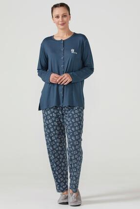 Sementa Kadın Önden Düğmeli Pijama Takım - Lacivert