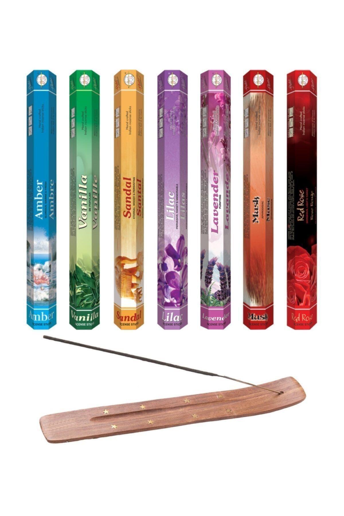 Beren Hediyelik 140 Adet Tütsü (amber, Vanilya, Sandal Ağacı, Leylak, Lavanta, Musk, Kırmızı Gül Tütsü Kayığı 1