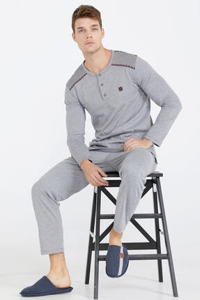 Sementa Yarım Düğmeli Erkek Pijama Takımı - Antrasit