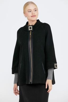 Sementa Toka Detaylı Fermuarlı Kadın Triko Ceket - Siyah - Gri