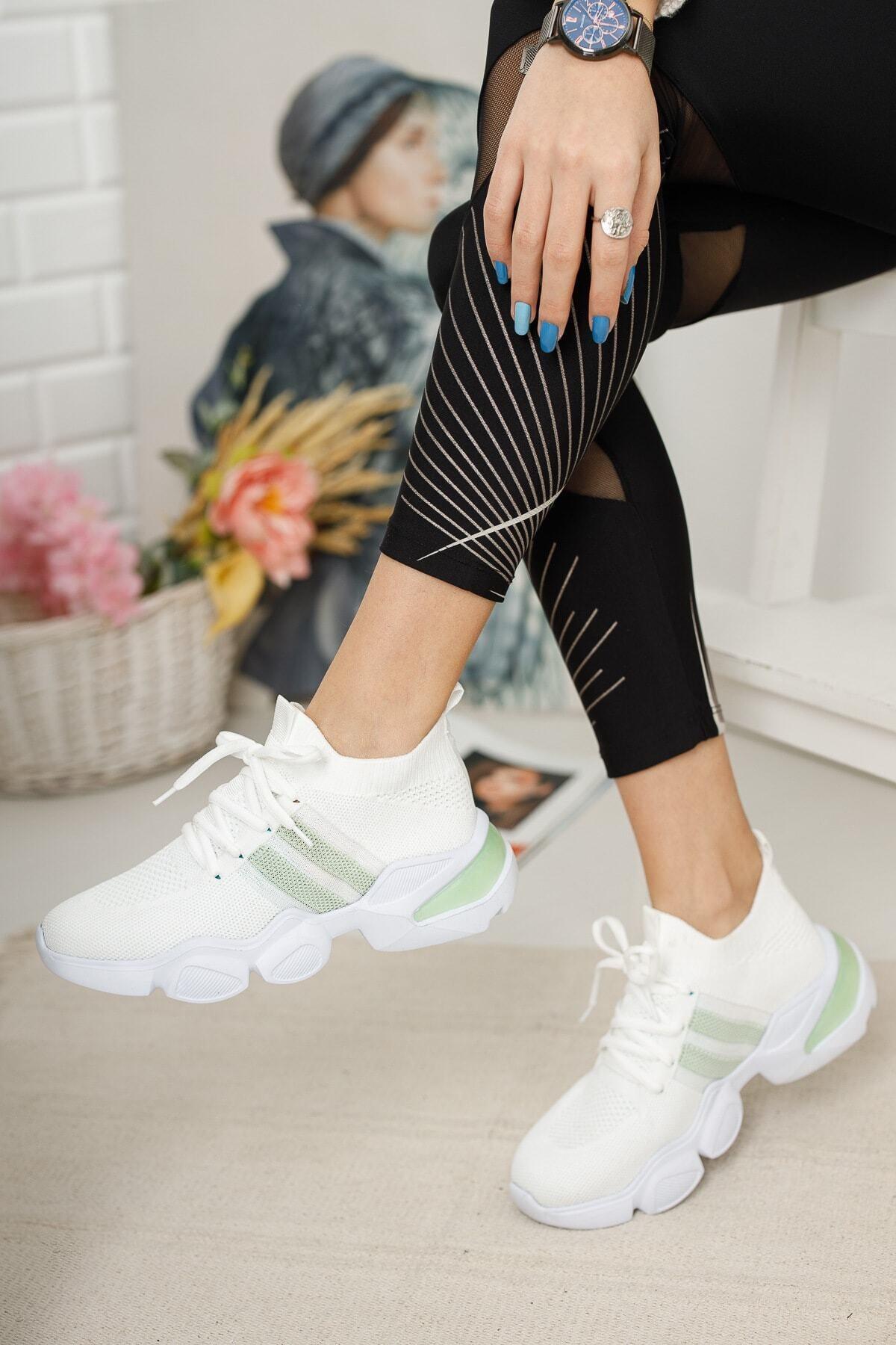 meyra'nın ayakkabıları Beyaz Triko Sneakar 2