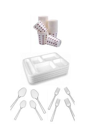 ÖZKAN AMBALAJ 5 Gözlü Tabldot Köpük Tabak - Plastik Çatal,kaşık-karton Bardak(50adetli Set)