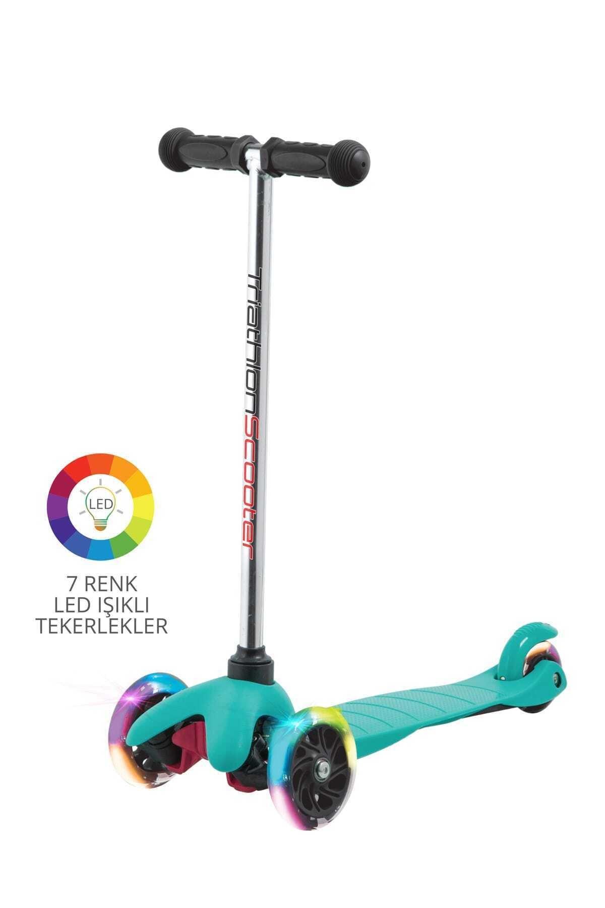Triathlon 7 Renk Led Işıklı Tekerlekli Scooter - Mavi 1