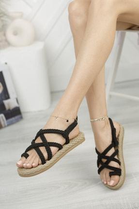 MUGGO Rymw614 Kadın Hasır Sandalet Hediye