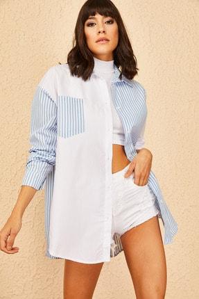 Bianco Lucci Kadın Çift Taraflı Şeritli Oversize Gömlek
