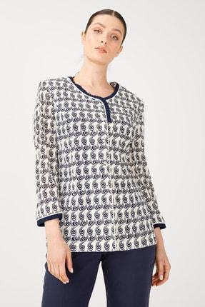 Ekol Kadın Lacivert Yaka Detaylı Desenli Ceket