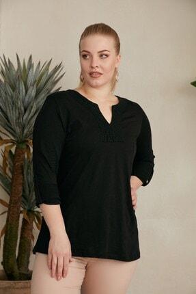 RMG Kadın Siyah Yaka ve Kol Detaylı Büyük Beden Bluz