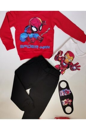 Kidscocuk Iron Man Spiderman Ikili Eşofman Takım