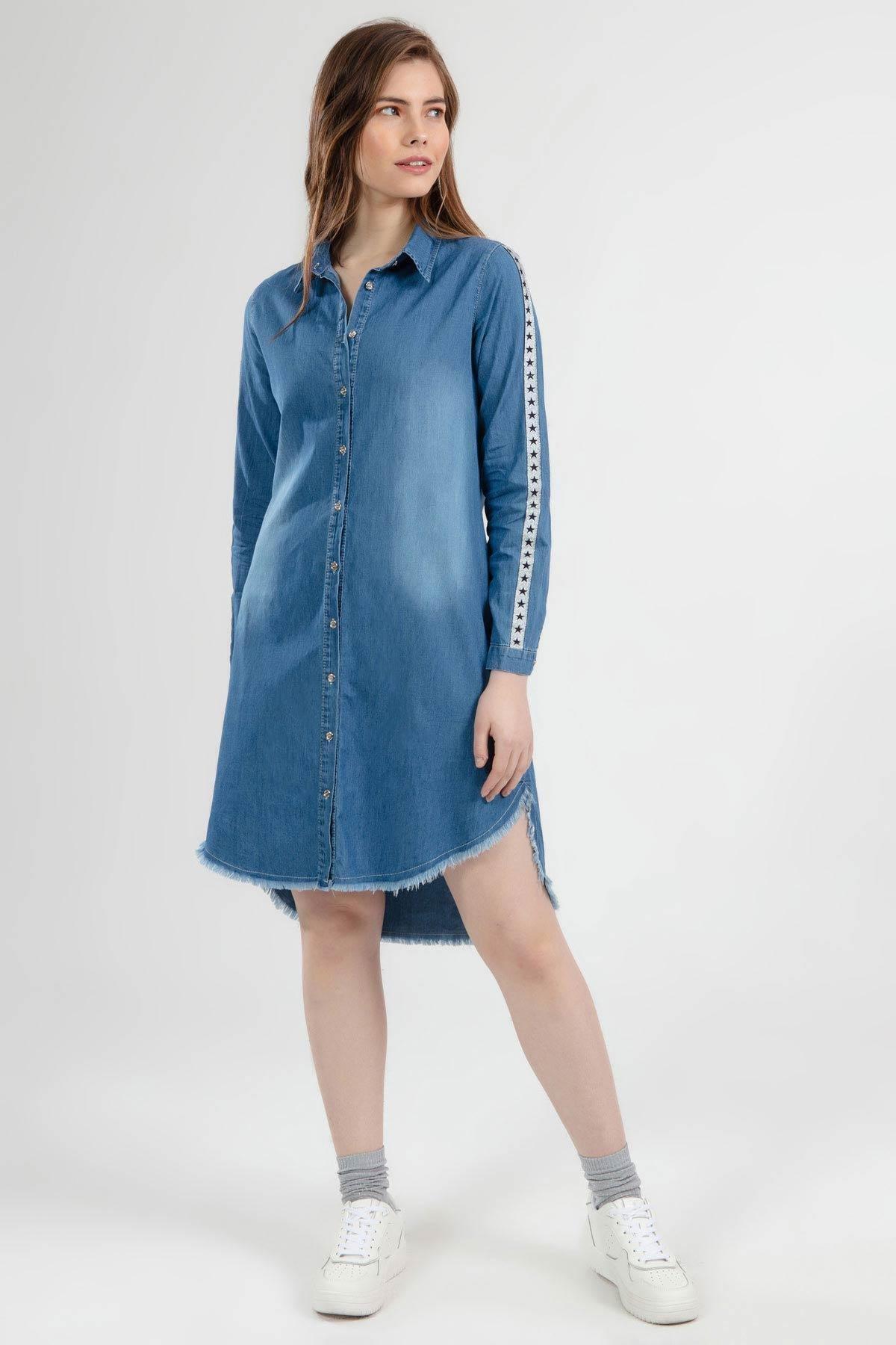 Pattaya Kadın Yıldız Sim Şeritli Püskül Detaylı Kot Gömlek Elbise 5632 1
