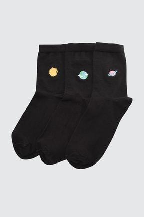 TRENDYOL MAN Siyah Erkek 3'lü Paket Soket Çorap TMNSS21CO0089