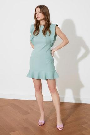 TRENDYOLMİLLA Mint Fırfır Detaylı Elbise TWOSS19XB0075