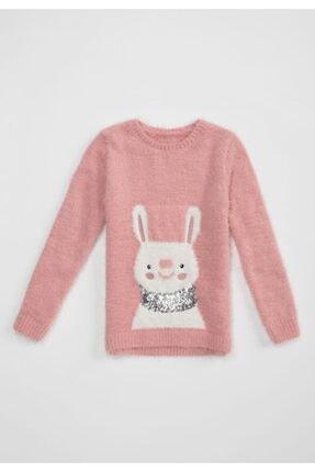 DeFacto Kız Çoçuk Tavşan Desenli Tüylü Triko Kazak