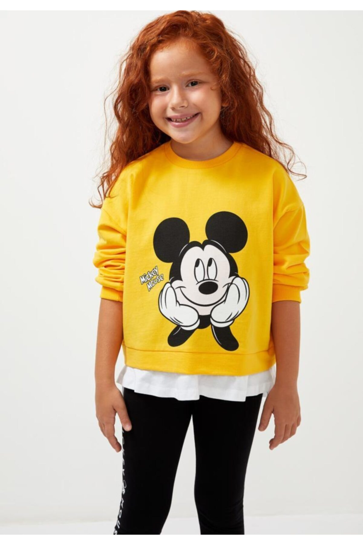 DeFacto Kız Çocuk Sarı Mickey Mouse Sweatshirt 2