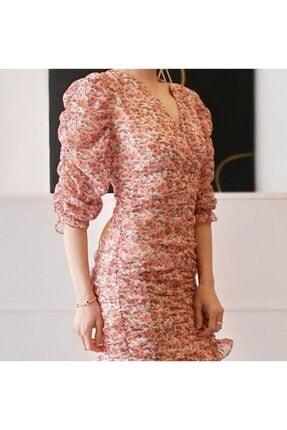 CA BOUTIQUE Kadın Renkli Çiçekli Kruvaze Yaka Mini Elbise