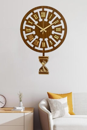 Sokaktaki Hediyem Modern Zaman Ceviz - Altın Premium Sallanır Sarkaçlı Duvar Saati