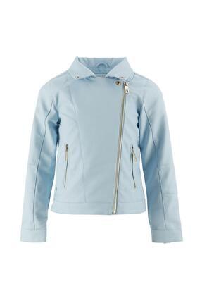 DeFacto Kız Çocuk Mavi Suni Deri Ceket