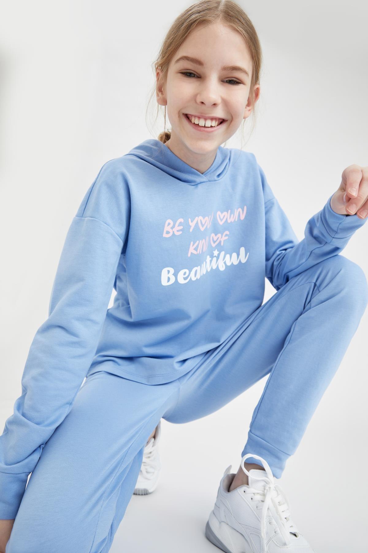 DeFacto Kız Çocuk Yazı Baskılı Crop Sweatshirt 1