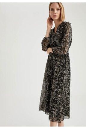 DeFacto Kadın Siyah V Yaka Volan Detaylı Kemerli Midi Elbise