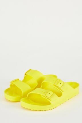 DeFacto Kadın Sarı Çift Bant Tokalı Terlik
