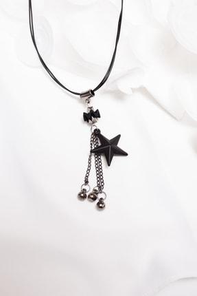Lafaba Kadın Siyah Yıldız Uçlu Kolye