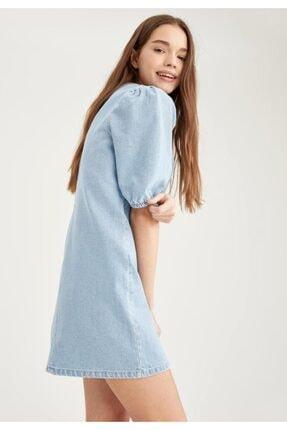 DeFacto Kadın Mavi Balon Kollu Relax Fit Jean Elbise